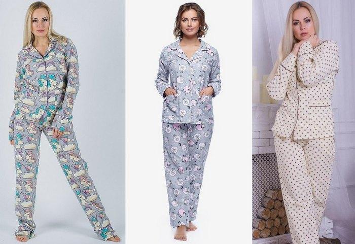 Пижамы женские байковые