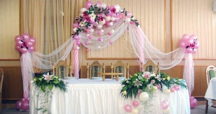 Декорирования помещения для свадьбы тканью газ
