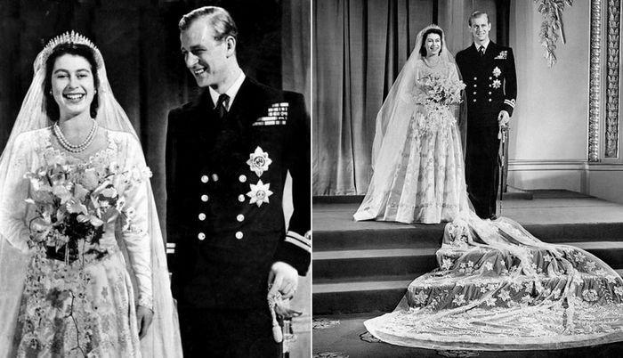Свадебное платье королевы Елизаветы II из атлас-дюшеса