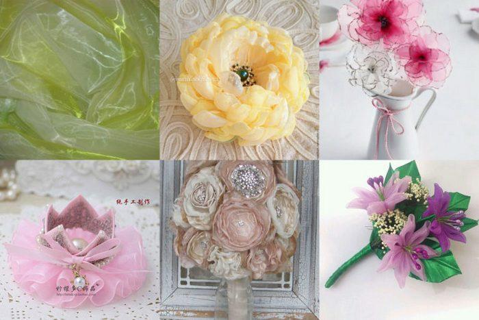 Цветки из органзы