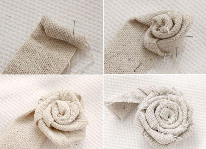 Цветы из джута и мешковины