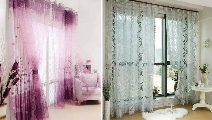 Вуаль и органза в качестве тюля впишутся в классический и современный интерьер комнаты
