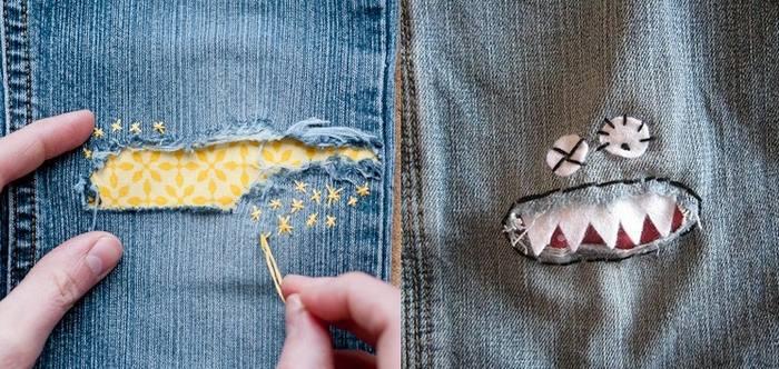 Заплатки на джинсовой ткани