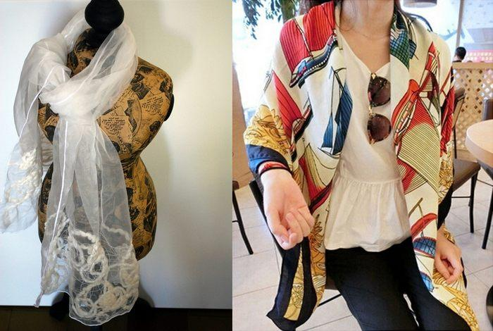 Женский шарф из фуляра