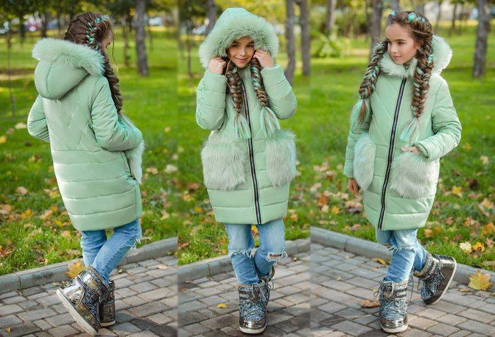 Детская теплая куртка-пальто синтепон + флис