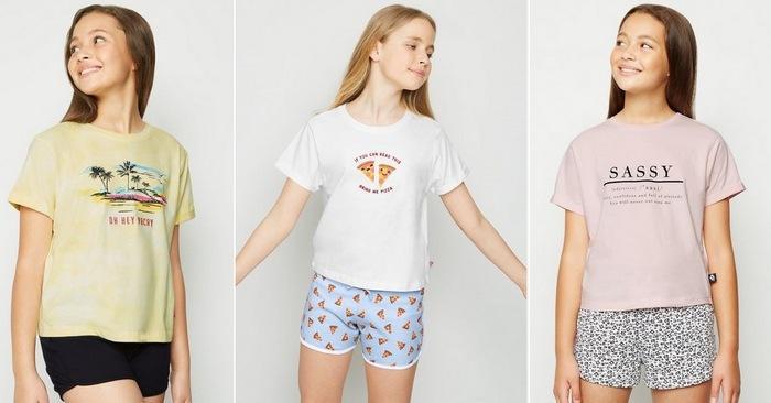 Комплекты из футболок и шорт для девочек 10-12 лет