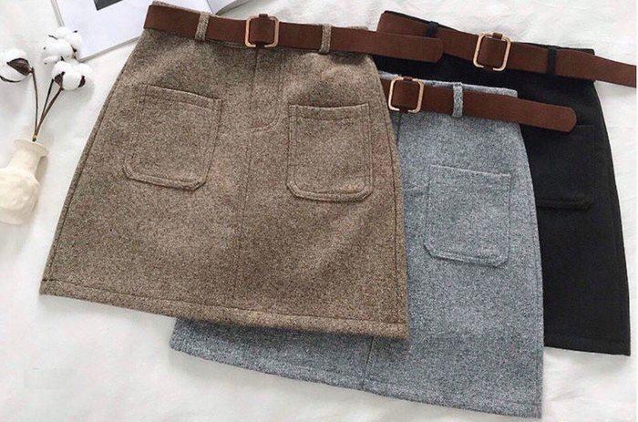 Теплая фетровая мини юбка с поясом