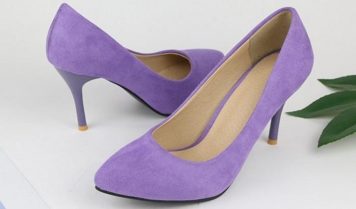 Женские туфли-лодочки на высоком каблуке из флока