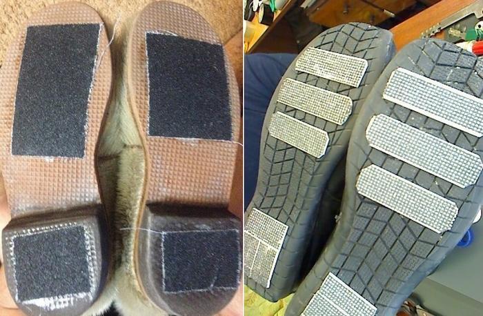Чтобы обувь не скользила можно приклеить наждачку