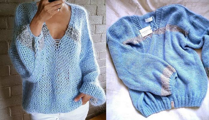 Нежнейший свитер из мохера с вырезом