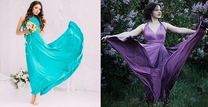 Платье трансформер из трикотажа масло