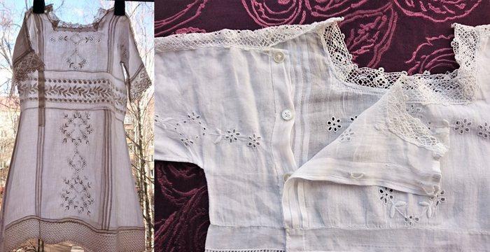 Старинное детское платье с ручной вышивкой из линона