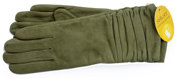 Женские удлиненные замшевые перчатки