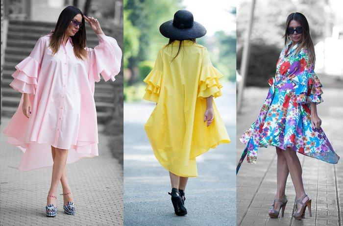 Летняя платье-рубашка из хлопчатобумажной ткани