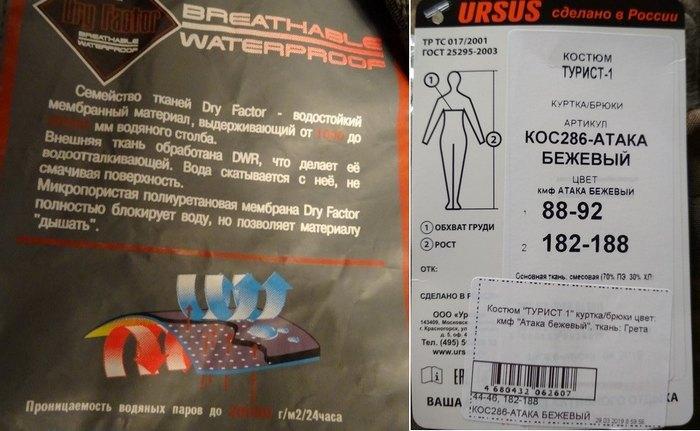 Дышащая ткань для спортивной одежды, этикетка
