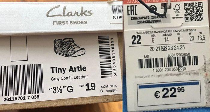 Этикетка на детской обуви