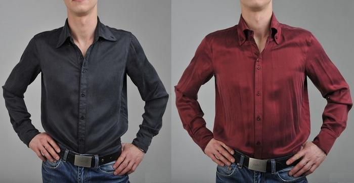 Мужская рубашка из мокрого шелка