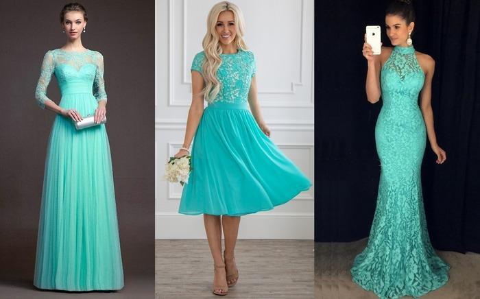 Платья длинные бирюзового цвета фото