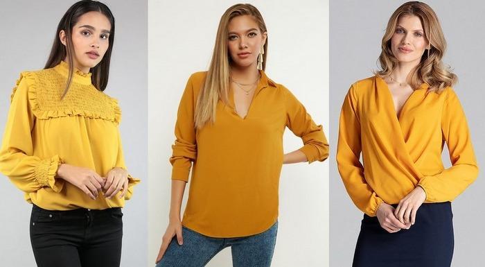 Блузки горчичного цвета фото