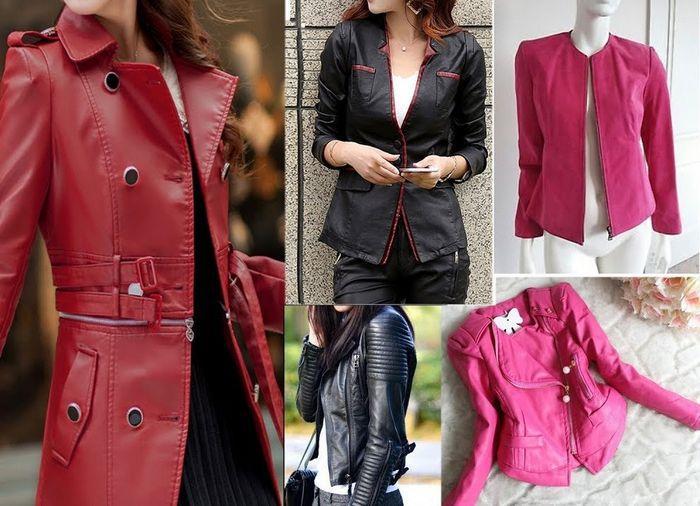 Фото кожаных курток женских, разных цветов