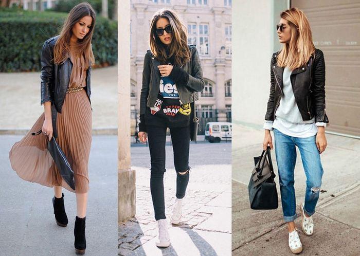 Кожаная куртка основа стиля женщины, фото