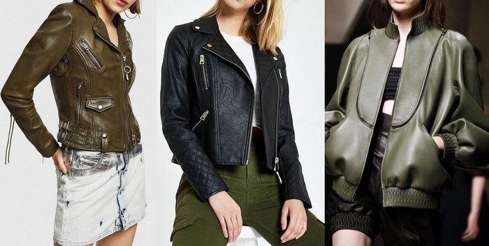 Кожаная куртка женская стиль милитари, фото