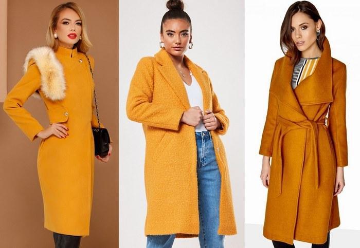 Пальто горчичного цвета фото