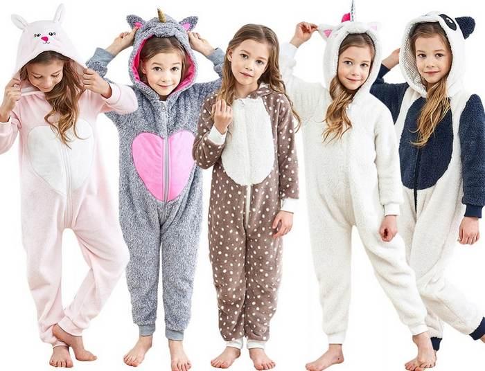 Теплые пижамы детские в виде животных фото