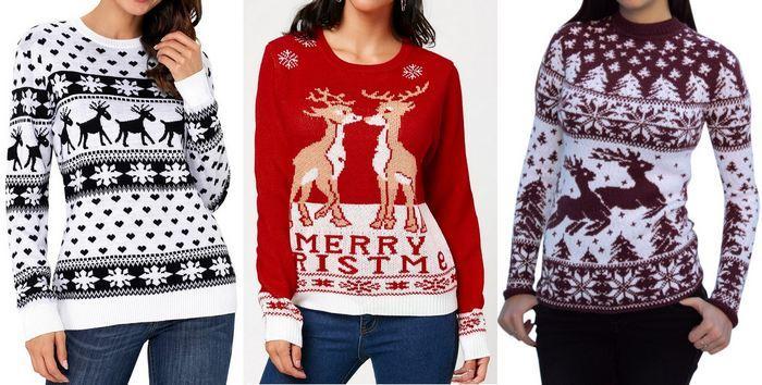 Зимний свитер женский с оленями, фото