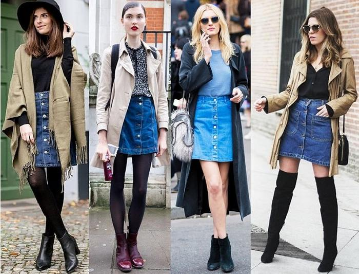 Юбка джинсовая с пуговицами впереди с чем носить, фото