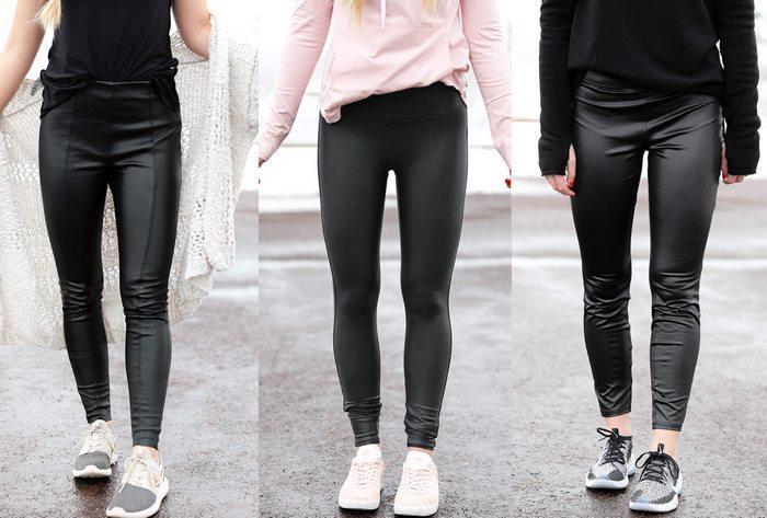 С чем носить кожаные леггинсы зимой