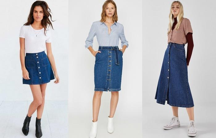 С чем носить джинсовую юбку с пуговицами спереди, фото