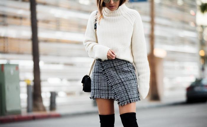 С чем носить твидовую юбку, фото