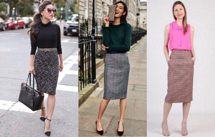 С чем носить твидовую юбку-карандаш, фото