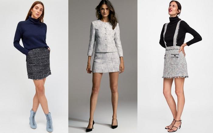С чем носить твидовую юбку-мини, фото