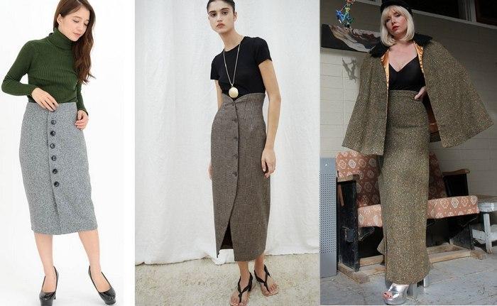 С чем носить твидовую юбку с высокой талией, фото
