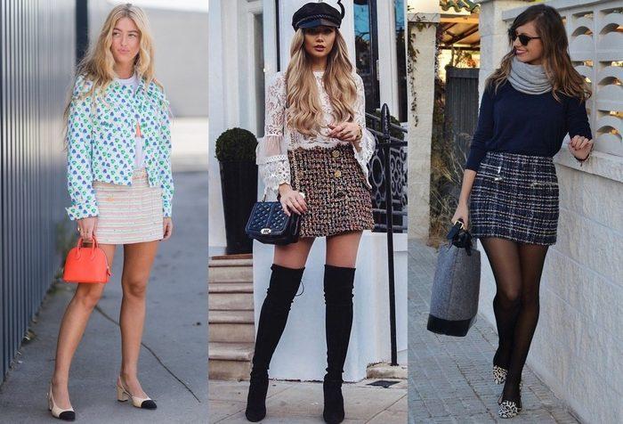 С чем носить твидовую юбку-трапецию, фото