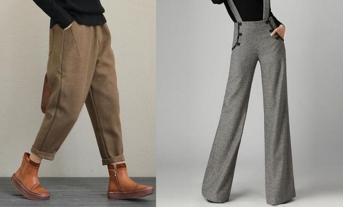 Широкие женские зимние штаны, фото