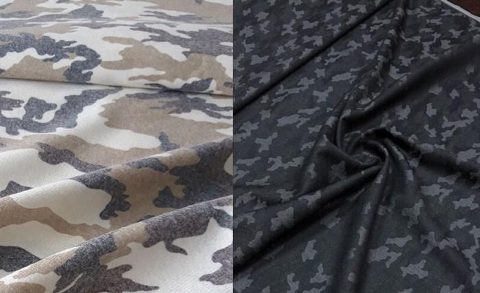 Костюмная шерсть с принтом камуфляж фото