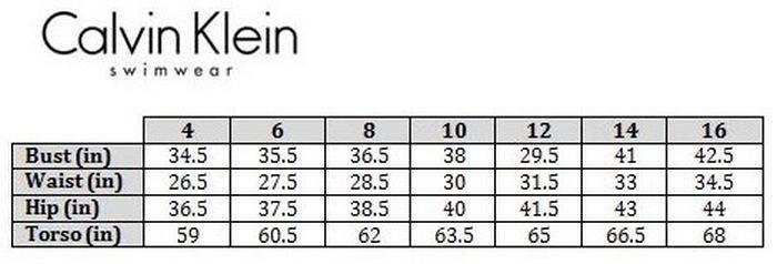 Таблица размеров купальников Calvin Klein, фото