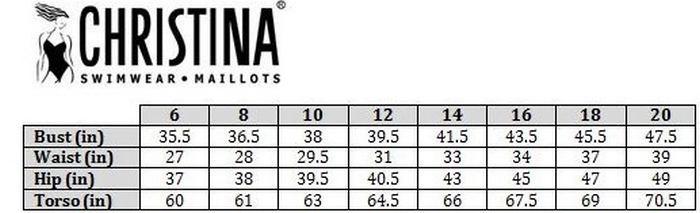 Таблица размеров купальников Christina, фото