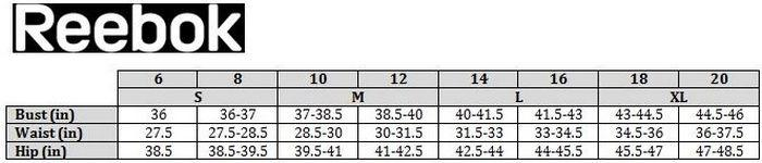 Таблица размеров купальников Reebok, фото