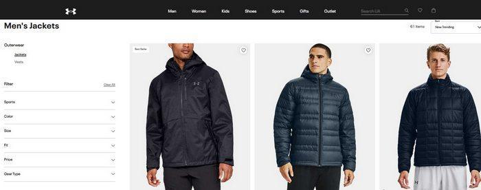 Мужские зимние куртки Under Armour, фото