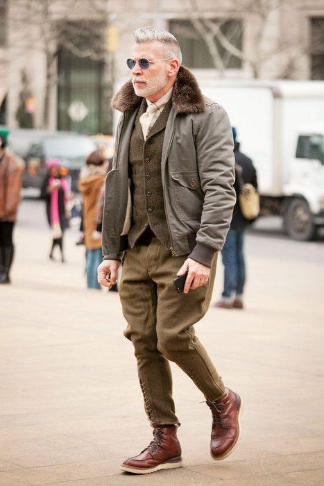 Мужская одежда в стиле авиатор, фото
