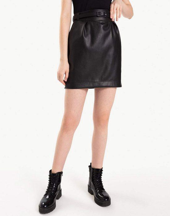 Женская юбка тюльпан из кожи, фото