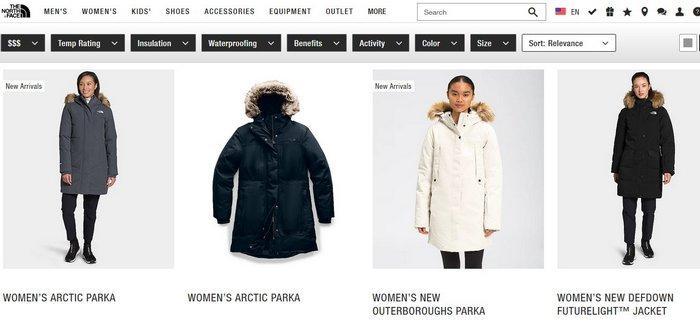 Женские зимние куртки The North Face, фото