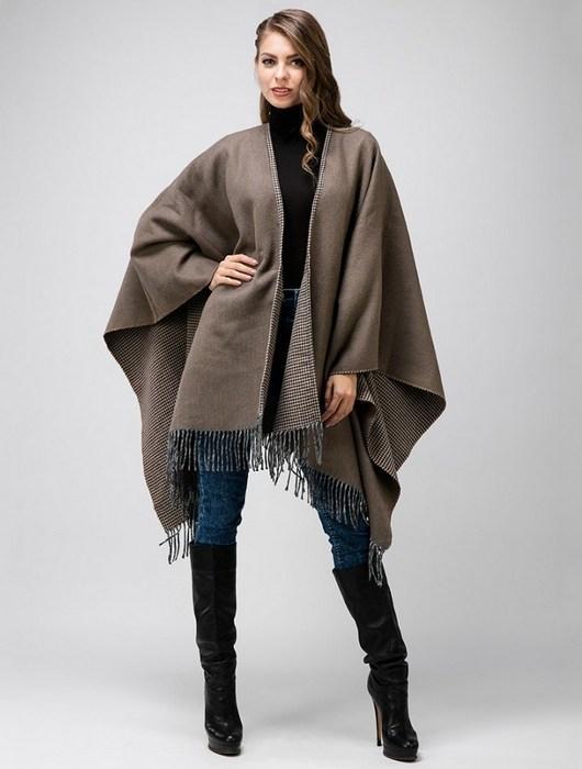 Женское пальто пончо, фото